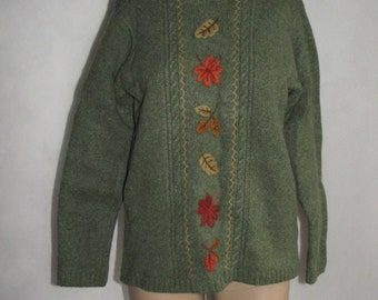 Womens SWEATER wool Tulchan JUMPER embroidered knit sweater vintage