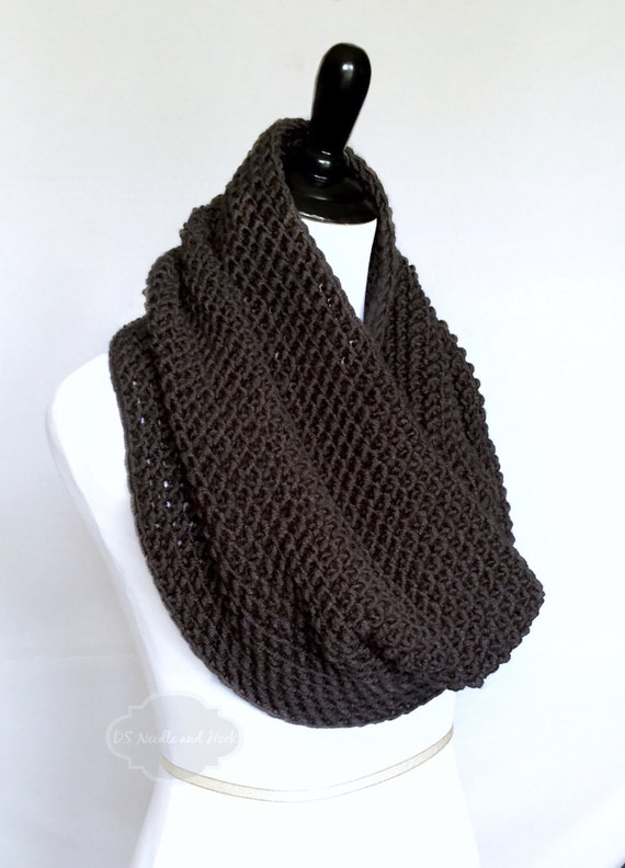 Grey Crochet Scarf, Chunky Gray Cowl, Shoulder Wrap, Gray Neck Warmer, Charcoal Infinity Scarf, Dark Gray Draped Cowl, Grey Snood