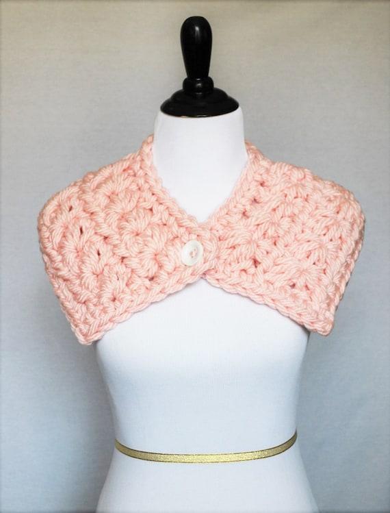 Pink Button Collar, Crochet Cowl, Neck Warmer, Wrap Scarf - Star Stitch, Peach / Pink
