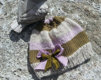 3-6 Month Baby Girl Cloche Shabby Chic Bow Striped Hat Wool/Acrylic Hand Knit Unique One-of-a-Kind Louisa Vintage