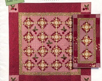 Free Usa Shipping Bunny Hill Designs Cherry Soda Quilt Table Runner 2005 8x10 Sewing Pattern New FF Out of Print