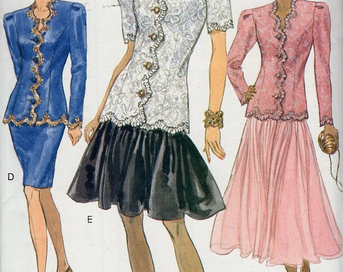Free Us Ship Sewing Pattern Vogue 8228 Vintage Retro 1990s 90's 1991 Zig Zag Suit Jacket Skirt Formal Size 6 8 10 Bust 30.5 31.5 32.5 Uncut