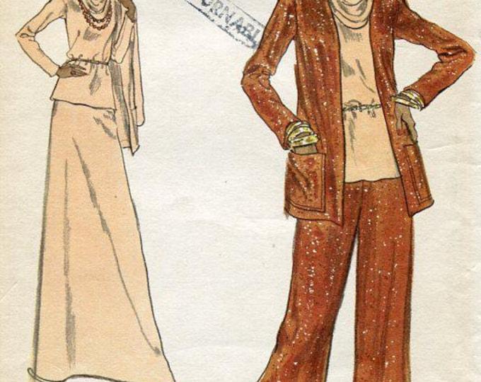 FREE US SHIP Vogue 8756 Vintage Retro 1970's 70's Cowl Neck Top Huge Wide Leg Pants Pantsuit Maxi Skirt Uncut 34 Bust Sewing Pattern
