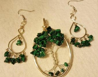 Malachite Jewelry Set