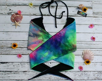 Tie Dye Reversible Seamless Brazilian Bikini Festival Wrap Top - Made to Order - Neon Tiedye Burning Man Honeymoon Adjustable Tie Top