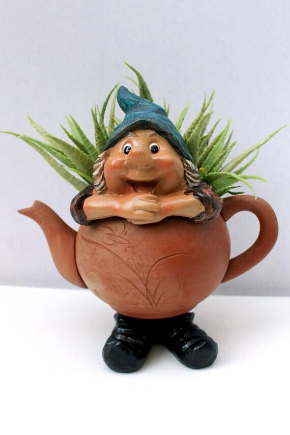 Gnome In Garden: Miniature Tea Pot Gnome Garden/Gnome Home Garden/Tea Pot