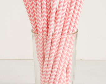 25 Light Pink and White Chevron Paper Straws- The perfect touch for girl baby showers, bridal showers, and pink-themed birthday parties