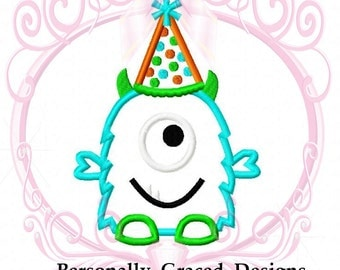 Instant Download Cute Silly One Eyed Monster with Birthday Party Hat Applique Embroidery Design 4 Sizes 3in, 4in, 5in, 6in 4x4, 5x7, 6x10
