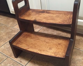 Kids wooden 2-step stool with all NATURAL stain and beeswax/olive oil sealer!