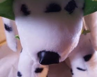 "medium Dog Visor - Lime green with border stitching - FITS NECK SIZE 10-12"" - 008"