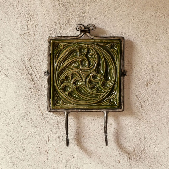 Wall hook ceramic tile cast iron rustic yule christmas