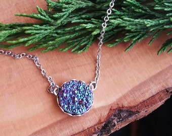 Peacock druzy necklace, purple druzy necklace, peacock ore gemstone necklace, purple gemstone necklace
