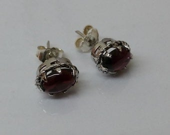 Earrings 925 Silver tourmaline red SO203