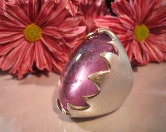 Amethyst ring, silver ring with Amethyst, Li-la mood ring