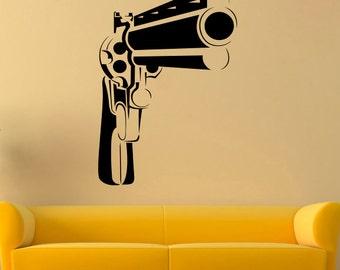 Gun Wall Decal Revolver Vinyl Sticker Weapon Decals Wall Vinyl Decor /5ikm/