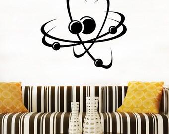 Atom Wall Decal Molecule Vinyl Sticker Home Art Decor (3am)