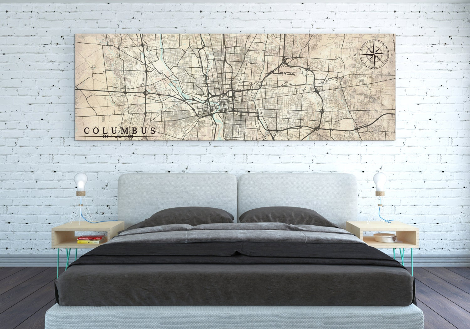 Columbus Oh Canvas Print Ohio Vintage Map Columbus Oh City