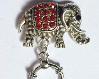 Red Elephant Magnetic ID Badge Holder, Sparkly Elephant Magnetic Eyeglass Holder, Magnetic Brooch,  Reading Glasses Holder