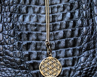 SALES !! Chain Seed Of Life - Bronze - Tribal - Ethnic - Sacred Geometry - Travel - Gypsy - Boho