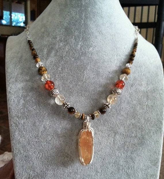 PERSONAL POWER, Chakra Balancing, Naval Chakra, Sedona charged, CITRINE Pendant, Bali Silver, Healing Jewelry, Metaphysical, Crystal