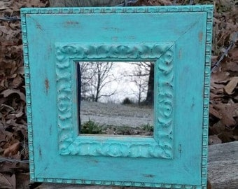 Painted and Distressed Aqua Mirror, Painted Mirror, Aqua Mirror, Painted Aqua Mirror