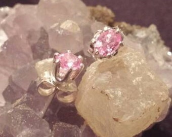 Pink Sapphire Earrings Studs Oval natural heat treated fast free shipping