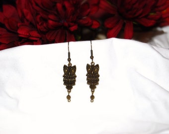 Antique Brass Owl Earrings**  **Handcrafted** Beauty in Nature Series**
