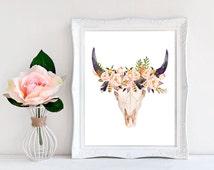 Boho print Boho wall art Boho room decor Cow skull print Southwestern art Printable gift Cow skull decor Cow skull wall art Cow head print