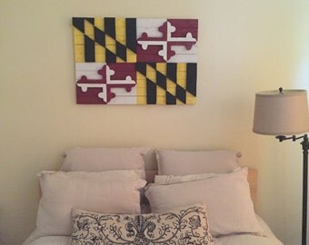 Wood Maryland Flag