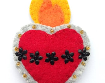 Handmade Felt Sacred Heart Brooch Pin Patch