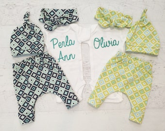 Baby Girl Twins Coming Home Outfit / Newborn / Geometric / Pattern / Coordinating