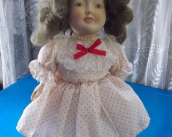 1978 Bisque Shirley Temple Doll Albert Price Inc Old Fashion Style Porcelain 15 inch