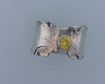 Sterling Silver Statement Ring with Yellow Zircon