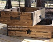 Rustic Wooden Box/Crate with 2 Black Metal Stars and 2 Rustic Cast Iron Handles; Large Storage Box; Rustic Country Primitive Farmhouse Decor