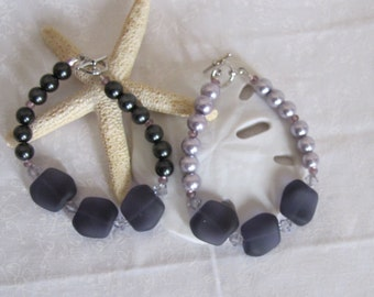 Sea glass and pearls bracelet ~ lavender