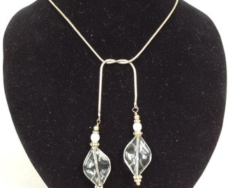 Silver Serpentine Chain and Carved Crystal Lariat Necklace