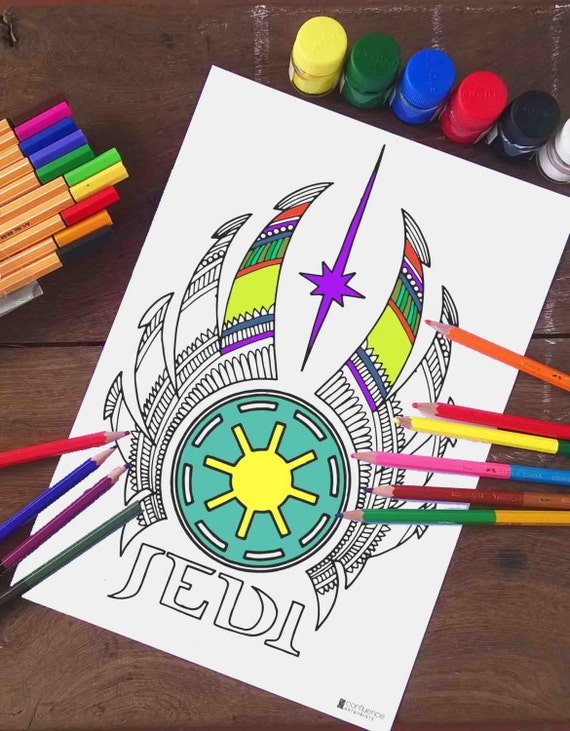 Star Wars Coloring Pages Jedi Logo Printable Adult coloring