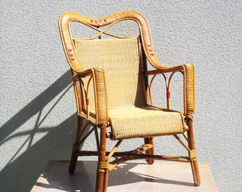 Authentic child Chair 1950 french Wicker & rattan