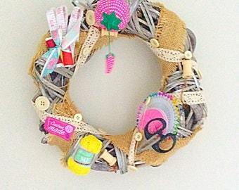 Sewing Wreath, British Sewing Bee, craft,wicker, hand made ,mother ,auntie, grandma, gran,birthday, craft room
