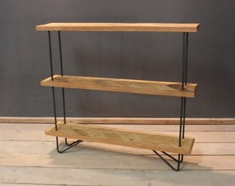 Parquet Shelving Unit with Steel Hairpin Legs. (The Amberstone)