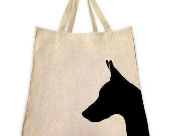 Canvas Tote Bag, Pet Tote Bag, Doberman Pinscher Silhouette, Gifts for Dog Lovers, Cotton Shopping Handbag, Cute Custom Bags, Tote Tails