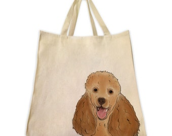 Pet Gifts, Canvas Tote Bag, Poodle, Dog Gifts, Dog Tote, Shoulder Tote Bag, Handmade Tote Bag, Handbag, Reusable Bag, Custom Pet Gift