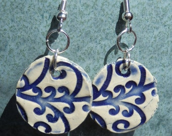Blue Vine Patterned Earrings