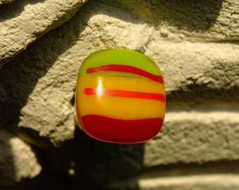 Retro Funky Striped Fused Glass Ring (OLC GR11)