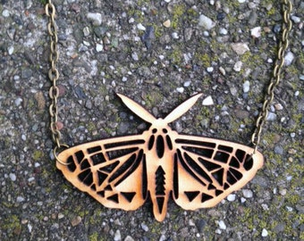 Moth Necklace Laser Cut Wood