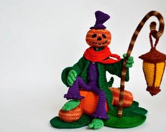 Crochet Art doll Halloween decoration OOAK Jack O'lantern Jack of lantern Halloween ornament Crochet doll Halloween pumpkin face Gothic doll