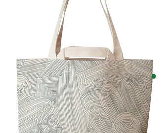 large luxury tote - pencil, not just a tote bag but a limited edition piece of art made with pioneering sustainable materials