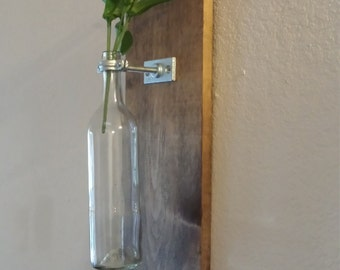 Two Wall Mounted Wine Bottle Vase