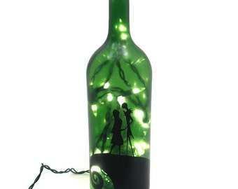 Nightmare Before Christmas Wine Bottle Lamp / Jack and Sally / Birthday Present / Nightlight