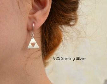 Legend of Zelda Earrings, Triforce Zelda Dangle Earrings, Geeky Nerdy Zelda 925 Sterling Silver Jewelry, Gamer Nintendo Jewelry